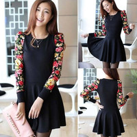 Vintage Women's Long Sleeve Casual Loose Cocktail Party Short Slim Dress  F_F