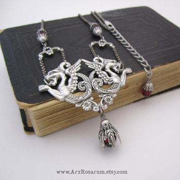 Dragon Necklace - Fantasy Jewelry - Victorian Gothic - Blood Ruby Red - Mythic Chimera