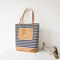 Striped Tote bag, Nautical Bag, Shoppers bag, Black and white, Casual Tote bag, Everyday Tote, Canvas and leather , Handbag