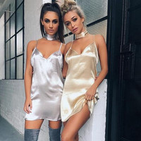 ♡  Deep V Neck Criss Cross Choker Neck Silk Satin Slip Dress  ♡
