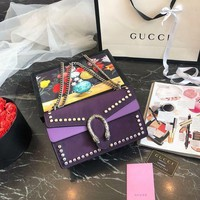 Gucci Dionysus Purple Gg Bag With Crystals