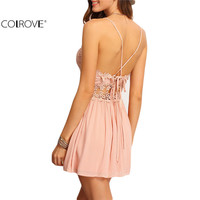 COLROVE 2016 Sexy New Arrival Hot Sale Summer Women A Line Fashion Sleeveless Crisscross-Back Hollow Out Lace Up Mini Dress