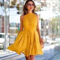 Ladies Solid Color Ruffles Pleated Dresses O Neck Casual Sleeveless Dress Pockets Pleated Mini Dress Spring Summer