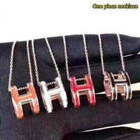 Hermes New fashion H letter pendant couple necklace