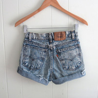 Vtg Levi's Acid Wash Mid High Waisted Cut Off Denim Shorts Boyfriend Jean 25""