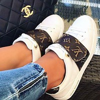 LV Retro white Women shoes Coffee Sneakers