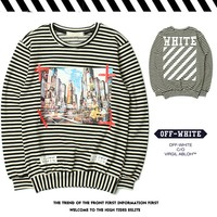 OFF WHITE Fashion Winter Stripes Couple Round-neck Hoodies [11501028172]