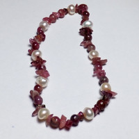 Pink/Purple Tourmaline and Freshwater Pearl Stretch Bracelet
