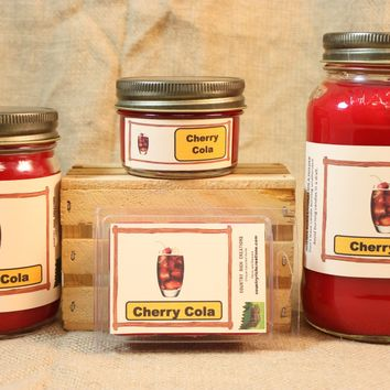 Cherry Cola Scent Candles and Wax Melts, Soda Scent Candle Wax, Highly Scented Candles and Wax Tarts, True Scent of Delicious Cherry Cola