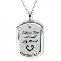 I Love You With All My Heart Pendant Necklace - Stainless Steel Necklace - Love Jewelry Commitment Gifts