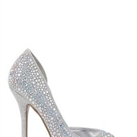 Peep Toe Single Sole Heels with Stones and Open Side
