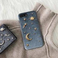 Fashion Case Saturn Golden Phone Case for iPhone 7 7plus 6 6s 8 8plus X Plus Hard Cover for Girls Stars Space