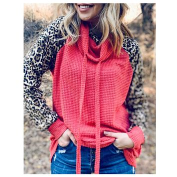 SALE! Adorable Me! Double Cowl Leopard Accent Salmon Sweater Top