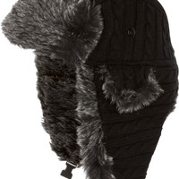 Sakkas Turner Unisex Ribbed Knit Faux Fur Lined Chin Strap Winter Trooper Hat