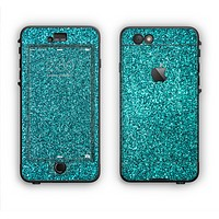 The Teal Glitter Ultra Metallic Apple iPhone 6 Plus LifeProof Nuud Case Skin Set
