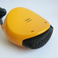 70s KRUPS SOLITAIR Hair dryer Blow Hairdryer /70s Yellow Made in Germany Functional Working Plastic Modernist Pop Retro