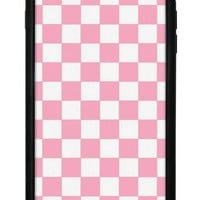 pink checkers iphone 6 7 8 plus case  number 1