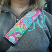Seat Belt Cover, Monogram Seat Belt Cover, Shoulder Strap, Cute Girls Gift