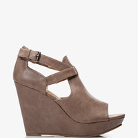 Faux Leather Peep Toe Wedges | FOREVER 21 - 2037050919