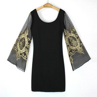 Black Lantern Sleeve SheathDress