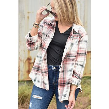Take Me Out Flannel Top - Terracotta