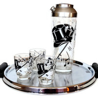 Cocktail Set, Cocktail Shaker, Glasses, Tray, Top Hat, Gloves, Music Notes