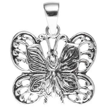 Butterfly Solid Body Sterling Silver Pendant