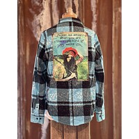 Right Kind of Weird Art Flannel- Distressed Turquoise- Angry Minnow Vintage