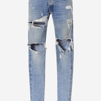 Indie Designs Fear Of God Inspired Distressed Ankle Zip Jeans