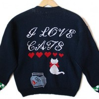 Vintage 90s I Love Cats Cat Lady Tacky Ugly Sweater - The Ugly Sweater Shop