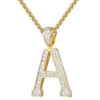 Iced Out Custom Solitaire Initial Letter Charm Pendant Chain