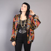 90s SILKY Bomber JACKET / Baroque Snow Leopard Animal Print Jacket