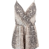 Deuces Are Wild Snake Print Romper Jumpsuit