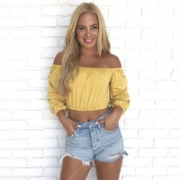 Caught Your Eye Crop Top in Mustard