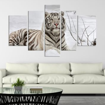 Large Wall Art Animal Canvas Print - Magnificant Bengal Tiger Lying on Snow - MyGreatCanvas.com |  Extra Large Wall Art - Wall Art Print - Large World Map Canvas Print Gallery