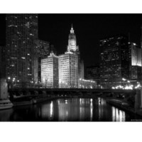 Black And White Of Chicago River Photographic Print by Patrick Warneka at AllPosters.com