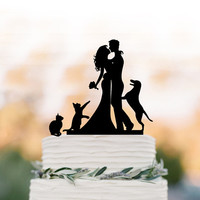 Funny wedding cake topper with cat.  wedding Cake Topper with dog, silhouette cake topper, Rustic wedding cake decoration