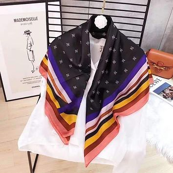Spring Summer Women Temperament Fashion Double-Sided  Print Print Multicolor Spell Color Stripe Silk Scarf Shawl