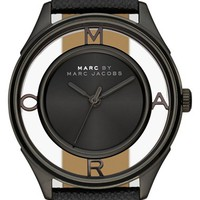 Women's MARC BY MARC JACOBS 'Tether' Skeleton Leather Strap Watch, 36mm - Black