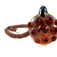 """Kumihimo Bead Braided Necklace in Burgundy with Bumpy Lampwork Glass Pendant 18.75"""" Long Boho Chic"""