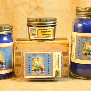 Bermuda Triangle Scent Candles and Wax Melts, Beverage Scent Candle Wax, Highly Scented Candles and Wax Tarts, Summer Cocktail Scent