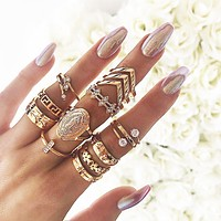 New ring 13-piece set ring diamond crown combination knuckle ring