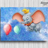 dumbo poster baby elephant wall art disney kids decor animal print