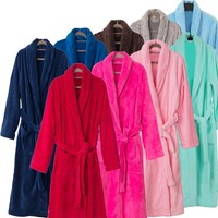 New Arrival Luxury Silk Flannel Winter Spa Bathrobe