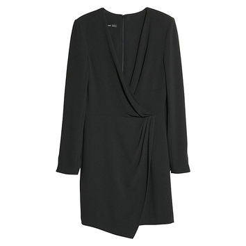 Buy Mango Crepe Wrap Dress, Black | John Lewis