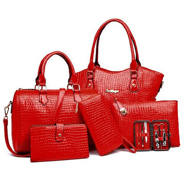 Set of Red Tote Bag, Crossbody Bag, Wallet, Clutch with Crocodile Print
