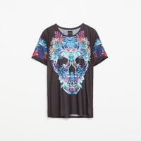 SKULL T-SHIRT WITH FLOWERS