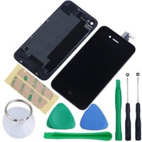Replacement Full Set Front LCD Display & Touch Screen Digitizer Assembly With Home Button + Back Cover Housing + 8pcs Repair Opening Tools Kit Compatible For Verizon/Sprint iPhone 4 CDMA - Black