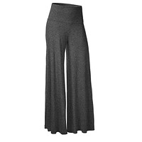 Preself Pants High Waist Wide Full Length Leg OL Business Knitting Loose Pant Trousers Women Solid Pure Color Casual pantalones