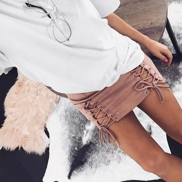 Suede straps with buttocks solid color short skirts [10507724039]